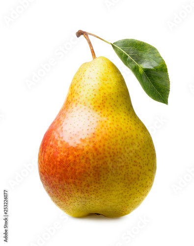 ripe pear with leaf isolated on white background - 253226077