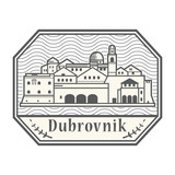 Abstract rubber stamp with Dubrovnik, Croatia
