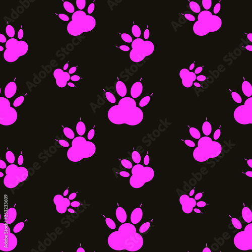 obraz lub plakat Paw pattern, seamless vector pattern silhouettes of paw, cat's feet, dog's footprint. Pink on black background