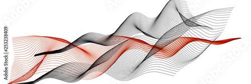 Abstract 3d illustration. Colored wavy lines on a white background. Panoramic backdrop. - 253238409