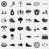 Bbq in nature icons set. Simple style of 36 bbq in nature vector icons for web for any design