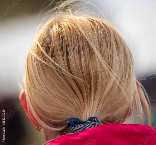 Tailored hair on the girl's head