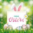 Frohe Ostern Cover mit Ostereiern und Hasenohren