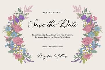 Wedding invitation. Summer wedding. Floral element. Vector vintage illustration.