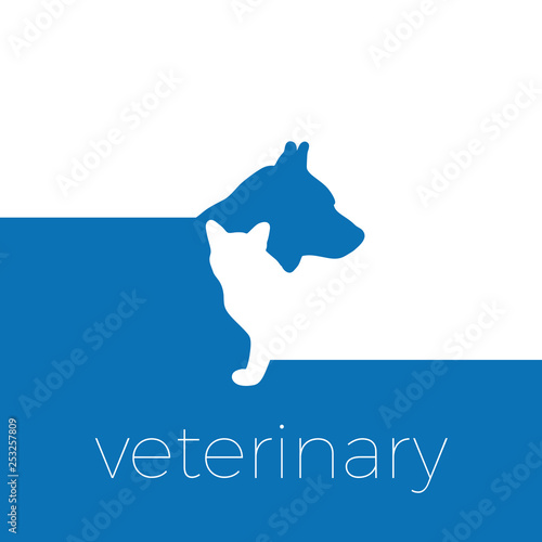 Vector sign veterinarian, dog and cat - 253257809