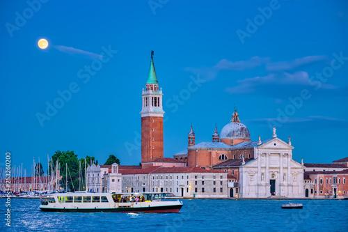 obraz PCV San Giorgio Maggiore Church with full moon. Venice, Italy