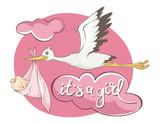 It's a girl -- card. Vector illustration, Stork bears baby.