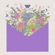 Summer bouquet. Rustic. Meadow and garden flowers. Vector vintage illustration. Violet envelope