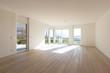 Leinwanddruck Bild - Empty white living room interior with parquet