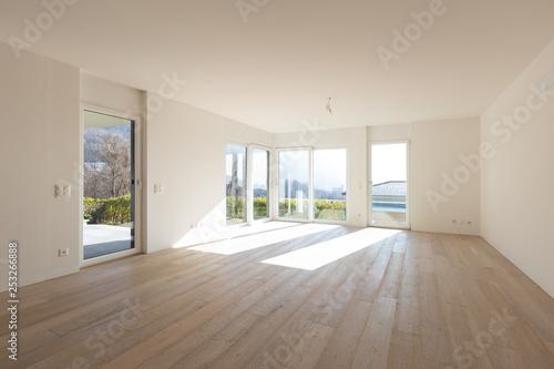 Leinwanddruck Bild Empty white living room interior with parquet