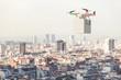 Leinwandbild Motiv drone delivery with white box