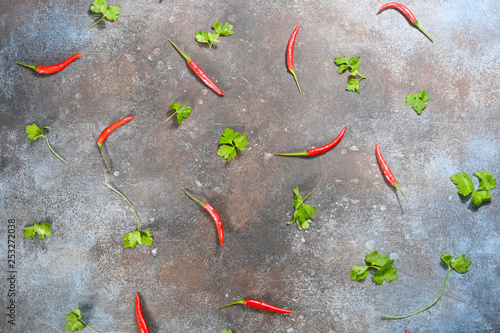 Pattern made of fresh vegetables on dark stone background. Flat lay, top view. © glenkar