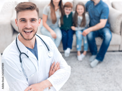 family doctor and his happy patients - 253273489