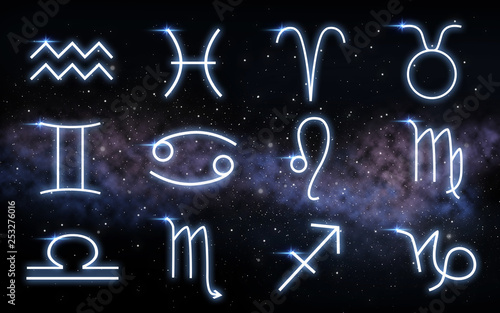 astrology and horoscope - set of zodiac signs over dark night sky with stars and galaxy background © Syda Productions