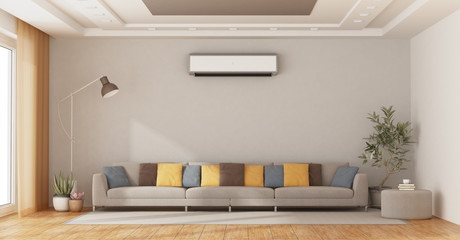 Modern living room with sofa and air conditioner