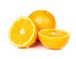 Orange fruit half on white background.