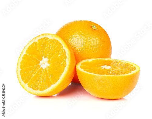 Orange fruit half on white background. - 253296209