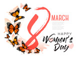 8th March illustration with beautiful butterflies. International Women's Day. Vector.