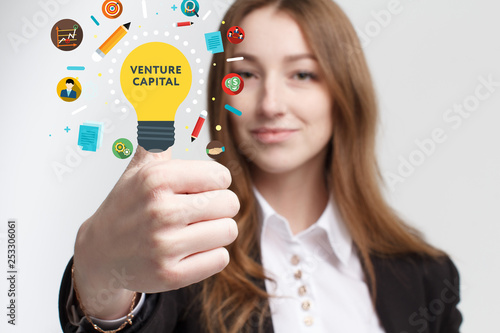 Business, technology, internet and networking concept. Young entrepreneur showing keyword: Venture capital