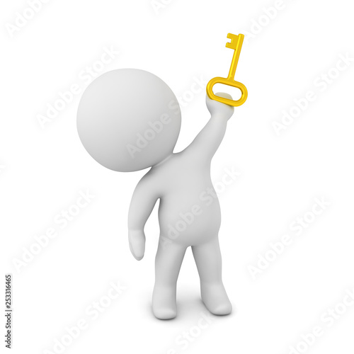 3D Character Holding Up a Small Key © Lucian_3D