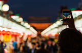 Sightseeing and street photography in Asakusa at night