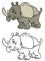 coloring pages for childrens with funny animals,rhinoceros