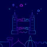 Tower Bridge, London Vector Line Icon, Illustration on a Dark Blue Background. Related Bottom Border