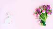 Leinwandbild Motiv Pink fresh tulips
