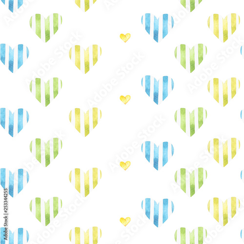 obraz lub plakat Seamless watercolor pattern with cute hearts on a white background.