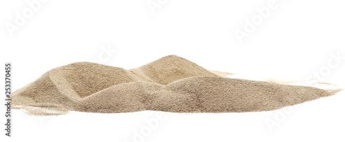 Leinwandbild Motiv Pile desert sand dune isolated on white background, clipping path
