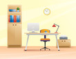 Workplace, office in flat style. Interior illustration
