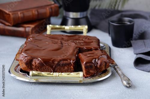 obraz lub plakat chocolate brownie cake with ganache