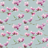 Watercolor magnolia flowers seamless pattern. Hand painted flowers and green leaves on branch isolated on pastel blue background. Floral illustration for design, print, fabric or background. - 253376476