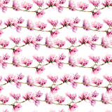 Watercolor magnolia and leaves big seamless pattern. Hand painted flowers and green leaves on branch isolated on white background. Floral illustration for design, print, fabric or background. - 253376622