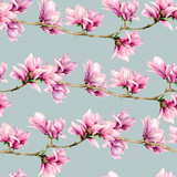 Watercolor magnolia seamless pattern. Hand painted flowers and green leaves on branch isolated on pastel blue background. Floral illustration for design, print, fabric or background. - 253376659