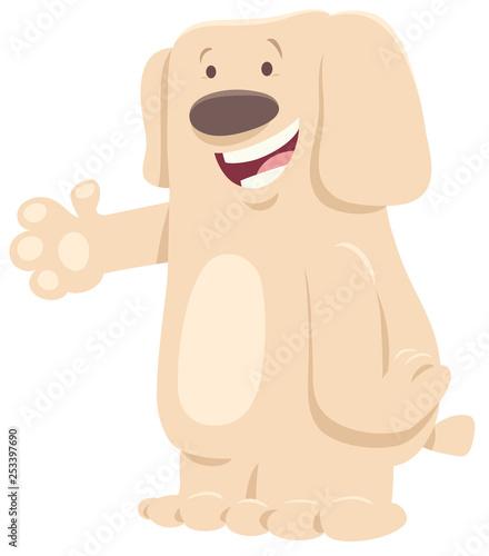 funny white dog cartoon animal character - 253397690