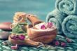 Sea salt with dry rose petals