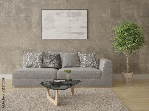 Mock up fashionable living room with original stylish sofa and hipster backdrop.