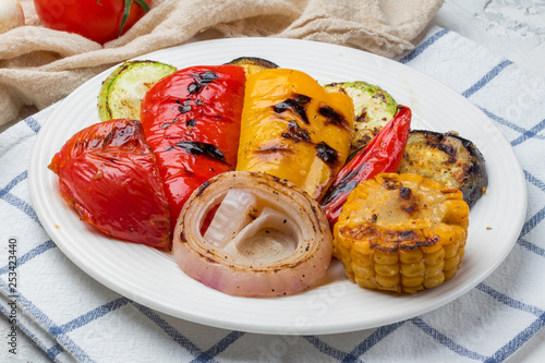 grilled vegetables on a plate - 253423440