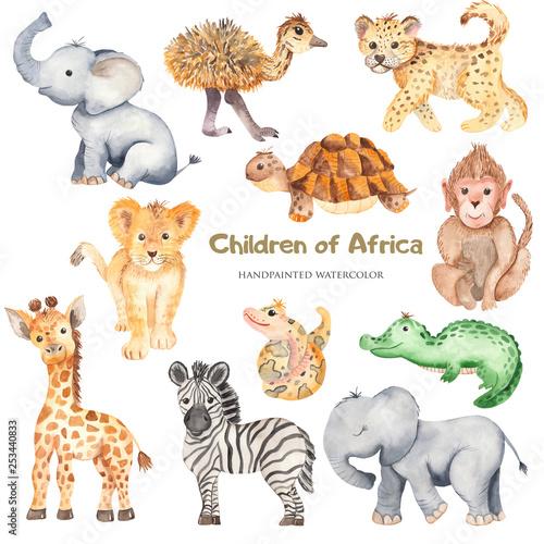 Watercolor cute cartoon African animals. Zebra, giraffe, crocodile, elephant, lion for cards, invitations, logos, baby shower, prints, travels. - 253440833