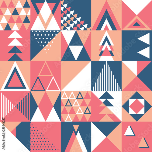 obraz PCV Seamless pattern, geometry shapes in warm pink and blue tones