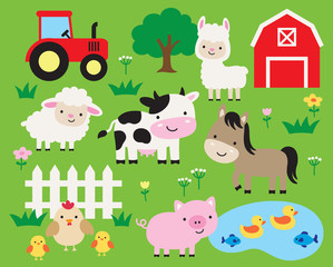 Cute farm animals vector illustration set including cow, horse, pig, llama, hen, chicken, duck, fish, sheep, barn, and tractor. Cute cartoon animals in a ranch.
