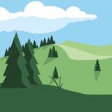 Fototapeta Las - forest landscape scene icon © djvstock