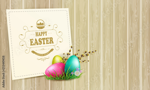 Easter light composition with a silhouette of eggs, a willow branch and a square frame,