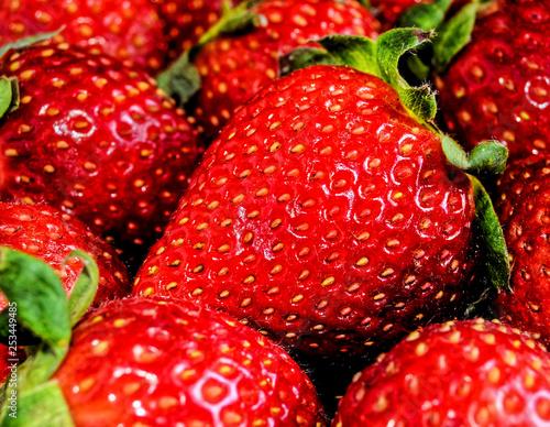 obraz lub plakat Red Strawberry texture background
