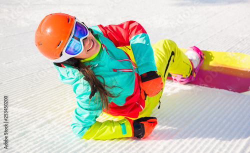 obraz lub plakat Young girl with snowboard