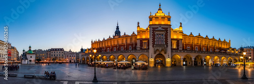 Krakow Cloth Hall by early blue hour (panoramic) - 253465265