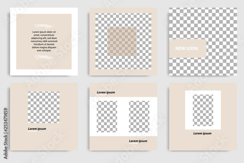 Editable continuous set square abstract brush banner template for social media post and cover. Minimalist design background in soft brown satin color. Vector illustration