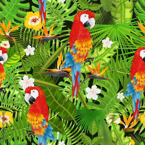 Seamless pattern with exotic tropical leaves, flowers and parrot illustration © yayasya