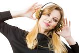 Teenage woman wearing headphones